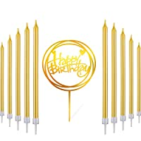 Honoson 30 Pieces Gold Long Birthday Candles Tall Thin Cake Candles, Happy Birthday Acrylic Cake Topper Birthday Cake Party Decor