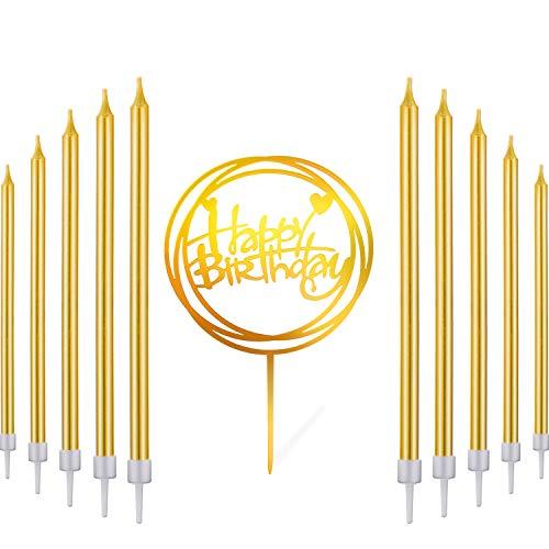 30 Stücke Gold Lange Geburtstag Kerzen Hoch Dünne Kuchen Kerzen, Happy Birthday Acryl Kuchen Topper Geburtstag Kuchen Partei Dekor