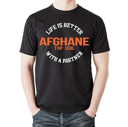Siviwonder Unisex T-Shirt AFGHANE - LIFE IS BETTER PARTNER Hunde Schwarz
