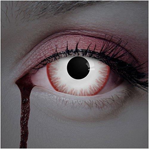 eiße Sclera Kontaktlinsen 17mm 2er Set / Zombie Jahreslinsen (Kostüm Kontaktlinsen Sclera)