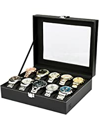H&S Glass Lid 10 Watch Jewellery Display Storage Box Case Bracelet Tray Faux Leather Black