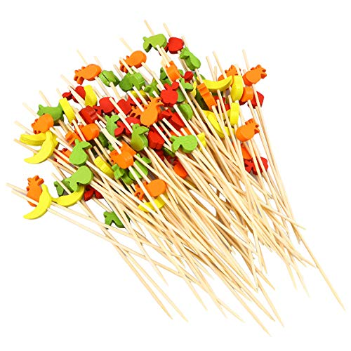 BESTONZON 100 Stücke Bambus Cocktailspieße Partypicker Partyspieße Cocktail Picks Party Zahnstocher für Fingerfood Obst Snacks 12 cm (Farbe Obst)