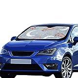 Plosds Auto Sonnenschutz Katze Liebe Mond Cartoon Sonnenblende Universal Fit Halten Auto Fahrzeug Kühlen Reflektor Limousinen Geländewagen LKW 55