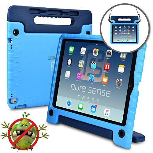 Apple iPad Pro 12.9 Hülle für Kinder, PURE SENSE BUDDY robust antibakteriell keimfrei Schultergurt strapazierfähig Kinder widerstandsfähig stoßsicher Spielzeug Schutz tragbar Schutzhülle + Griff, Standfunktion, Displayschutz (Blau)
