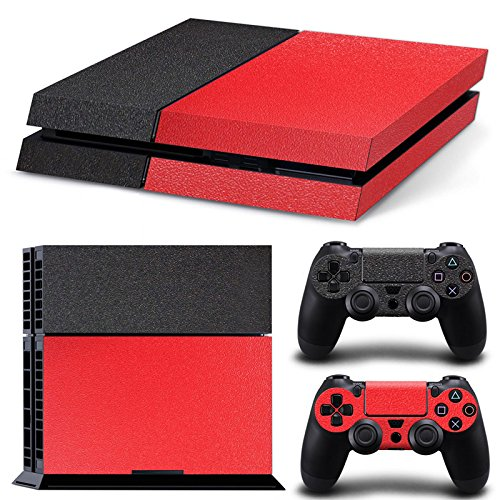 GameCheers PS4 Konsole and DualShock 4 Controller Skin Set - Leather Texture Black Red- PlayStation 4 Vinyl Colour