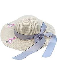 Kanggest Sombrero de Paja del Verano de los Niños del Bowknot del Flamenco Sombrero de Ala Ancha Sol para los Niños Sombrero de la Playa de Protección Solar Viajes (Beige)