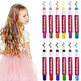 Haarkreide 12pcs Natürliche Haarfarbe Non-Toxic Temporäre Haarfarbe Haare Kreide Stifte Haare Kreide Auswaschbar Haarkreide Set für Kinder für Weihnachten Geburtstag Party für alle Haare