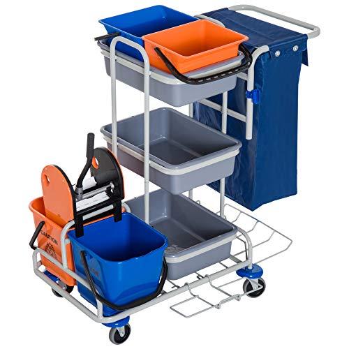 Homcom carrello per pulizie professionale multiuso con 4 secchi rotelle borsa di tela 118 × 73 × 103cm