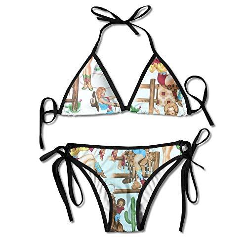 Wild West Cowgirl Women's Sexy Bikini Set Swimsuit Bathing Suit Triangle Swimwear (Wild West Cowgirl)