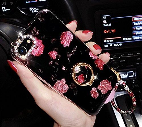 iPhone 6S Plus Hülle, iPhone 6 Plus Hülle, Vandot Diamant Glitzer Glänzend Blume Schutzhülle für iPhone 6S Plus / 6 Plus Handyhülle Bling Strass Crystal Kristall TPU Silikon Rückseite Case Cover Handy Flower Heckenrose