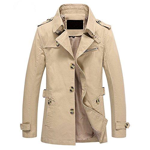Trenchcoat Herren, CRAVOG Fashion Einreihig Langer Abschnitt Beiläufige Sitz Militär Jacke Anzug für Herbst Winter (L, Khaki)
