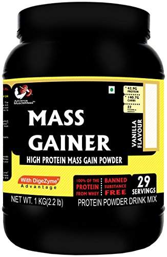 Advance MuscleMass Mass Gainer Whey Protein Supplement Powder - Vanilla (1 Kg / 2. 2 Lb 29 Servings)