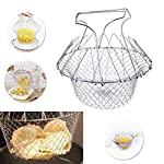 OFFER SALE Chef Basket for Kitchen Cook Deep Fry, Boiling Vegetable Strainer Bowl -Silver.