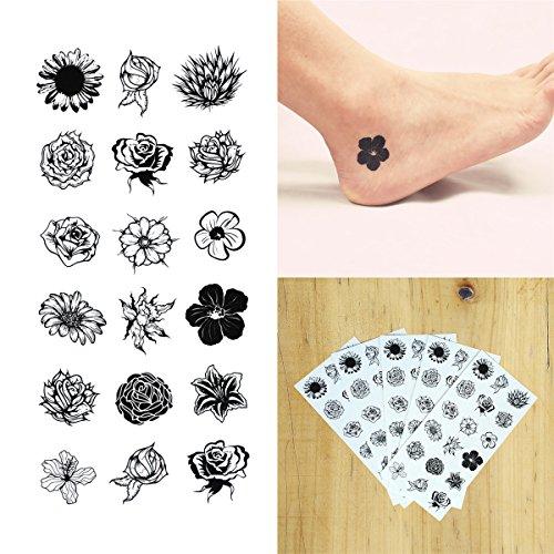 COKOHAPPY Temporäre Tattoo 5 Blätter Klein Schwarz Blumen Blume Long Lasting Flash Tattoo Körper Art