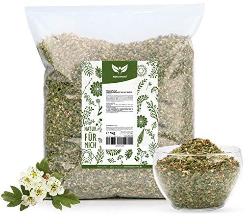 NaturaForte Weissdornblätter mit Blüten, geschnitten 1kg | Weißdorntee Lose | Arzneimittel-Qualität | 100% Natürlich & ohne Zusätze | Aroma-Beutel | Getrocknet | Laborgeprüft