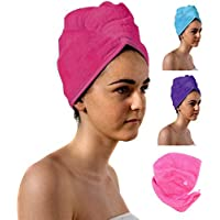 TowelsRus Spa Days Luxury Hair Turban, Pink, Absorbent Towel, Lightweight and Cotton