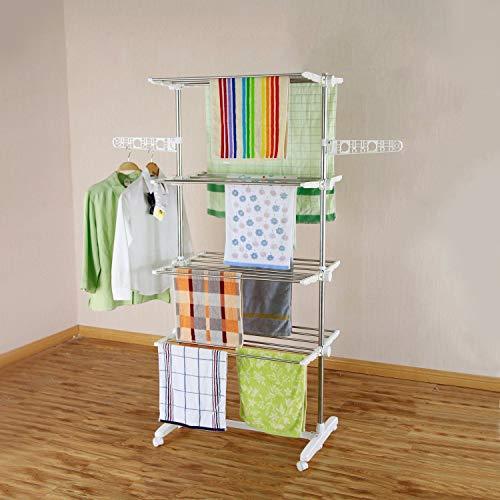 HS-Lighting Mobiler Wäscheständer Wäschetrockner-Turm Klappbar Kleiderständer Seitenflügel auf 4 Ebenen, Edelstahl, 142 x 55 x 178 cm