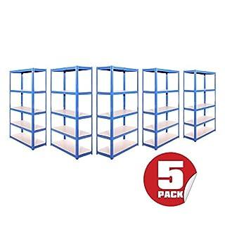 Garage Shelving Units: 180cm x 90cm x 40cm | Heavy Duty Racking Shelves for Storage - 5 Bay, Blue 5 Tier (175KG Per Shelf), 875KG Capacity | For Workshop, Shed, Office | 5 Year Warranty