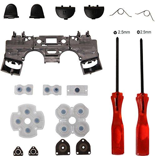 Timorn Ersatzteile L1 R1 L2 R2 Trigger Tasten Teile mit Federn oder Gummi leitende Auflage + innere Rahmen Interne Support + Tri-Wing + Kreuz Schraubenzieher für Playstation 4 PS4 Wireless Controller(1Satz)