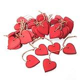 20 Stück kleine Holzherzen Anhänger 4,5 cm ohne Schnur gemessen - Deko Hochzeit Valentinstag Muttertag Geburtstag Ostern: rote Herzen zum Aufhängen Herzanhänger aus Holz mit Schnürchen
