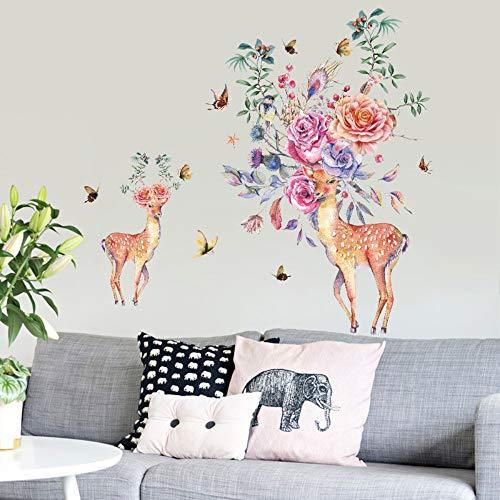Hand gezeichnete Rose Deer Wandaufkleber Eingang Garderobe Restaurant Wand Dekor Wandbild