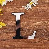 3D DIY Lettres Alphabet Décoratives Argent, Créatif Acrylique Surface du miroir Alphabet 26 lettres autocollant mural Fête de la décoration de la maison (L)
