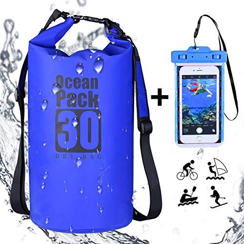 Nuestra Dry Bag es perfecta para el transporte en seco de sus pertenencias en viajes, festivales, paseos en bicicleta y motocicletas, senderismo, camping, trekking y kayak. El estuche universal para teléfono impermeable proporciona una segunda protec...
