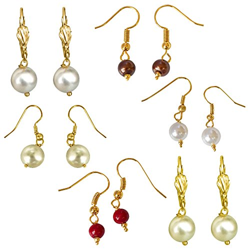Surat Diamonds Set of 6 Colored Shell Pearl & Gold Plated Wire Dangle & Drop Earrings For Women (H1869)  available at amazon for Rs.129