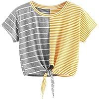 Geili Damen Sommer Casual Kurzarm Tops Mode O-Ausschnitt Streifen Tees Bow Bandage Bluse Tops T-Shirt preisvergleich bei billige-tabletten.eu