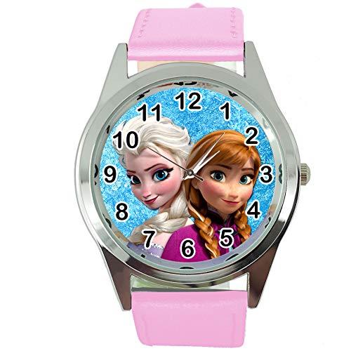 TAPORT® Armbanduhr Analog Quarz mit Echtlederband rosa rund für Fan der Eiskönigin ELSA Anna