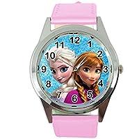 Quartz horloge met echt lederen band roze ronde voor fans van sneeuw