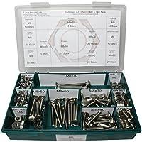 Sortiment M8 DIN 603 Edelstahl A2 (V2A) Flachrundschrauben mit Vierkantansatz (Schlossschrauben) - Set bestehend aus Schrauben, Unterlegscheiben (DIN 125, 127, 9021) + Muttern (DIN 934, 985) - 340 Teile