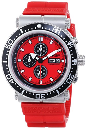 Nautec No Limit Deep Sea Professional DS-P QZ2/RBSTSTRD - Reloj para hombres, correa de goma color rojo