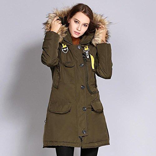 Donna in cotone caldo inverno in cotone rivestito con cappuccio con cappuccio in pelliccia di Parka Faux army green