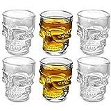 DOBO Skull Shot Bicchieri in vetro a forma di Teschio per cocktail shottini - 6 pezzi