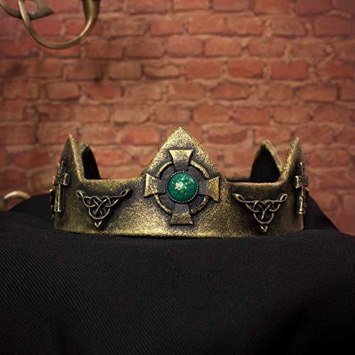 Aedan keltische Königskrone, goldene Kopfbedeckung mit grünen Harzsteinen, für Königskönigin Kostüme, Festivals, historische Rekonstruktionen, Larp (Mittelalterlicher König Kostüm)