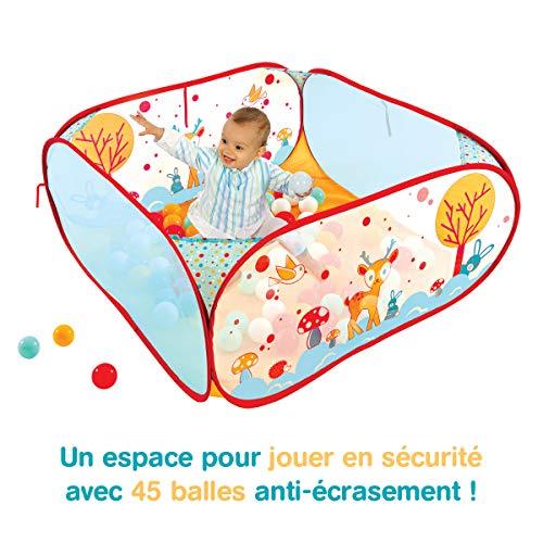 """LUDI - Piscine à balles """"Lapin"""" en tissu et structure pop-up 90 x 90 x 44 cm. 45 balles pour jouer en sécurité ! Dès 6 mois. L'aire de jeu se plie et se range dans un sac très léger - 20005"""