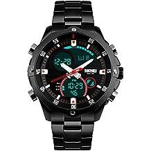 TTLIFE reloj acero inoxidable de reloj impermeable negocios de la banda bandana para caballero(negro)