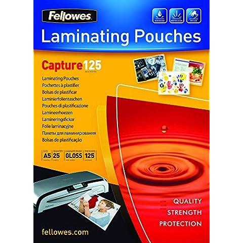 Fellowes 5396101 - Pack de 25 fundas para plastificar, A5, acabado brillo, 125 micras