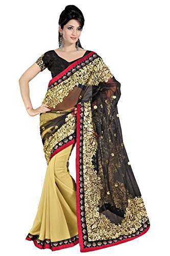 Saree ( By Design Women\'s Pallu Net And Skirt Georgette With Dhupion blouse)