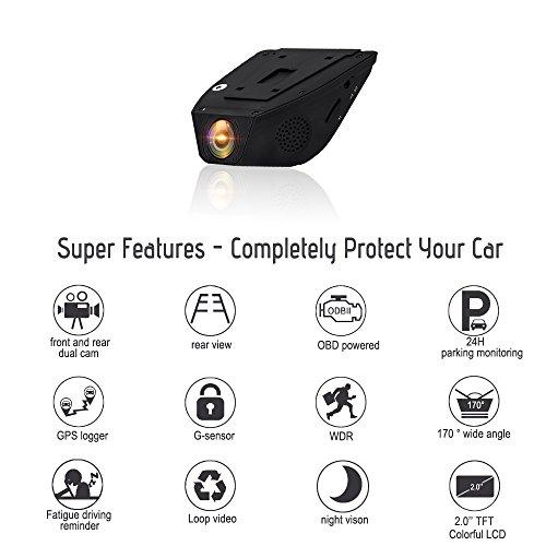 """Cámara del coche de salpicadero RESH - Profesional de alta gama - 1080P 170 ° Gran angular FHD Lente delantera y trasera de Dual 2.0 """"LCD Súper Visión Nocturna Monitor de Aparcamiento - DVR Dash Cámara de gran angular del coche para vehículo con OBDII, 32G Tarjeta SD, GPS"""
