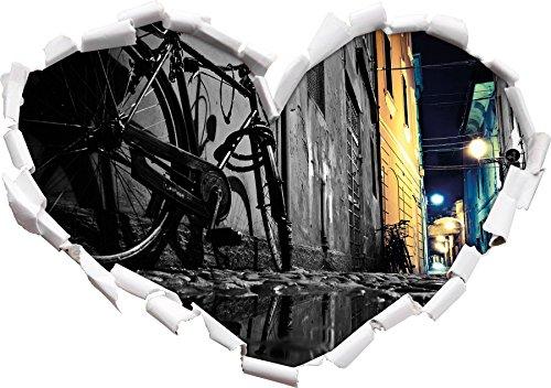 Piccola vicolo forma urbana nero / bianco cuore nel formato sguardo, parete o adesivo porta 3D: 92x64.5cm, autoadesivi della parete, decalcomanie della parete, Wanddekoratio