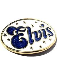 Buckle ELVIS, Weiß & Glitzer-Blau, King of Rock & Roll, Gürtelschnalle