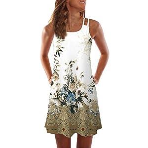 Lolamber Damen Sommer Vintage Boho Ärmelloses Sommerstrand Gedruckt Kurzes Minikleid Blumenkleid T-Shirt Tops Kleider-Faschingskostüme