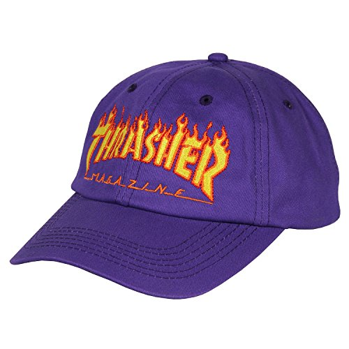 Thrasher Flame' Old Timer Strapback Cap. Purple.