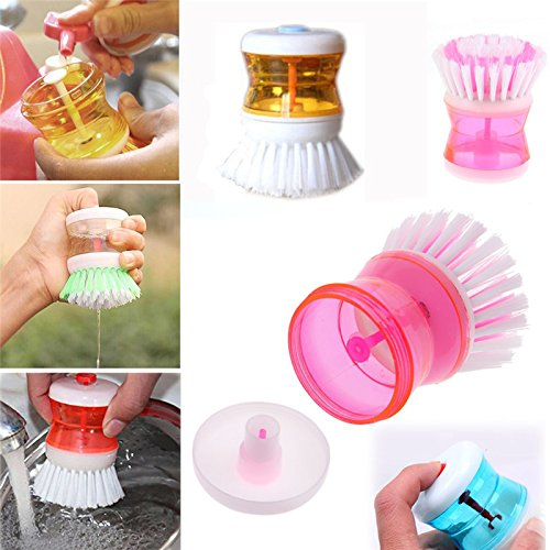 Vepson Dish Cleaning Brush with Washing Up Liquid Soap Dispenser Kitchen Tools