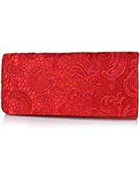 Bolso de mano tipo sobre con encaje, marca Accessorize-me - Referencia 09222 - Rojo, Satén, 26 x 4.8 x 11. cms
