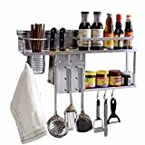 CGN Küche Wand Lagerregal, Multifunktions prägnant modern Platz sparen Küchenregal Würze Lagerregal Suppe Löffel Haken Aluminium zwei Etagen Größe: 60-80cm ( größe : 60 )