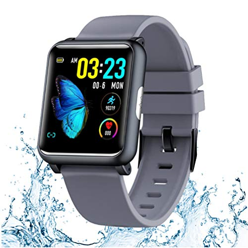 JIQHB Sport Tracker Wasserdicht Smartwatch 1,3 Zoll TFT Farbbildschirm ECG PPG HR überwachen Blutdruck Sportmodi Ladegerät Dock Smartwatch Männer Frauen,Gray - Blutdruck Dock