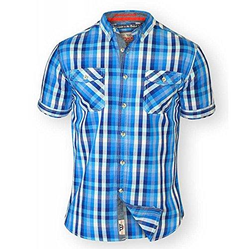 Duke Herren D555 Big Hoch King-size Emanuel Baumwolle Kariertes Hemd Blau